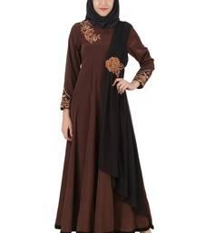 MyBatua Brown Polyester Arabian Style Islamic Wear For Women Muslim Abaya With Hijab