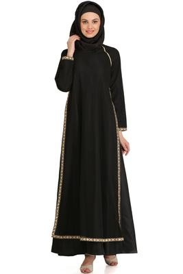 MyBatua Black Polyester Arabian Style Islamic Wear For Women Muslim Abaya With Hijab