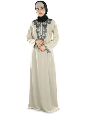 MyBatua Grey Polyester Arabian Style Islamic Wear For Women Muslim Abaya With Hijab