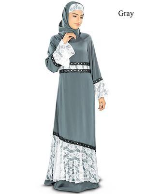 MyBatua Grey Poly Crepe Arabian Style Islamic Wear For Women Muslim Abaya With Hijab