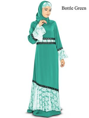 MyBatua Teal Poly Crepe Arabian Style Islamic Wear For Women Muslim Abaya With Hijab
