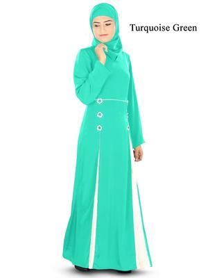 MyBatua Green Poly Crepe Arabian Style Islamic Wear for Women Muslim Abaya With Hijab