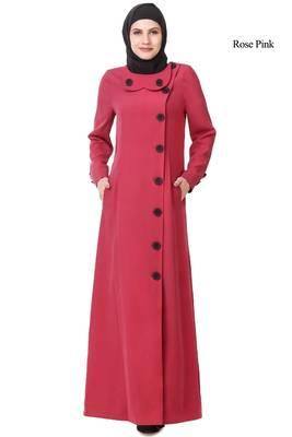 MyBatua Pink Polyester Arabian Style Islamic Wear For Women Muslim Abaya With Hijab