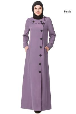 MyBatua Purple Polyester Arabian Style Islamic Wear For Women Muslim Abaya With Hijab