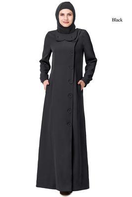 MyBatua Black Polyester Arabian Style Islamic Wear For Women Muslim Abaya With Hijab