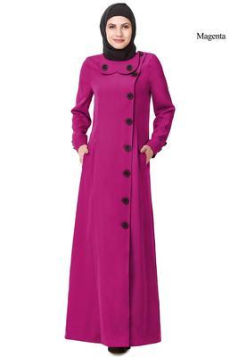 MyBatua Magenta Polyester Arabian Style Islamic Wear For Women Muslim Abaya With Hijab