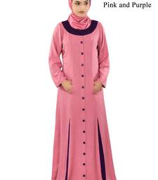 MyBatua Pink Rayon Arabian Style Islamic Wear For Women Muslim Abaya With Hijab