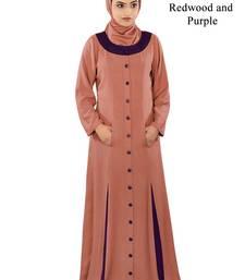 MyBatua Red Rayon Arabian Style Islamic Wear For Women Muslim Abaya With Hijab