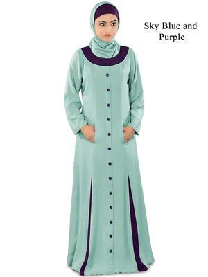 MyBatua Blue Rayon Arabian Style Islamic Wear For Women Muslim Abaya With Hijab