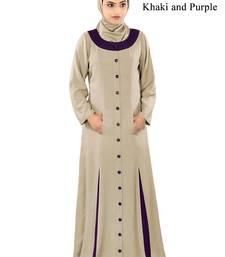 MyBatua Beige Rayon Arabian Style Islamic Wear For Women Muslim Abaya With Hijab