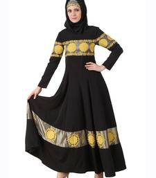 MyBatua Black Polyester Islamic Wear For Women Arabian Style Muslim Abaya With Hijab