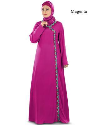 MyBatua Magenta Poly Crepe Islamic Wear For Women Arabian Style Muslim Abaya With Hijab