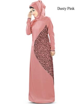 MyBatua Pink Poly Crepe Islamic Wear For Women Arabian Style Muslim Abaya With Hijab