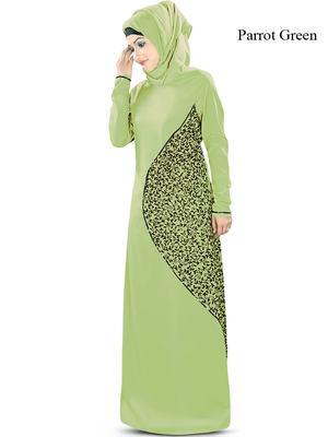 MyBatua Green Poly Crepe Islamic Wear for Women Arabian Style Muslim Abaya With Hijab