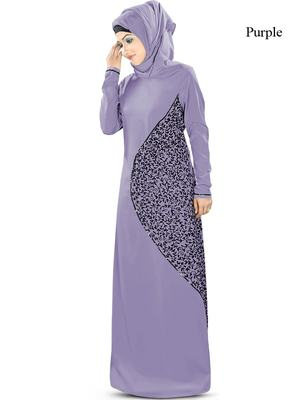 MyBatua Purple Poly Crepe Islamic Wear For Women Arabian Style Muslim Abaya With Hijab