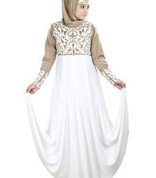 MyBatua White Viscose Islamic Wear for Women Arabian Style Muslim Abaya With Hijab