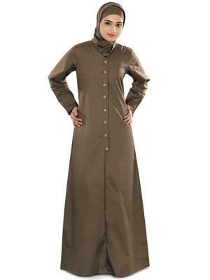 MyBatua Beige Cotton Islamic Wear for Women Arabian Style Muslim Abaya With Hijab