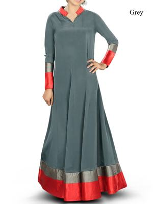 MyBatua Grey Poly Crepe Islamic Wear for Women Arabian Style Muslim Abaya With Hijab