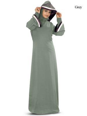 MyBatua Grey Polyester Islamic Wear for Women Arabian Style Muslim Abaya With Hijab