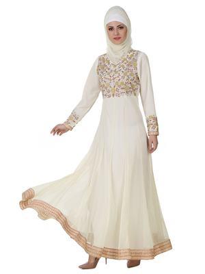 MyBatua Off White Polyester Islamic Wear For Women Arabian Style Muslim Abaya With Hijab