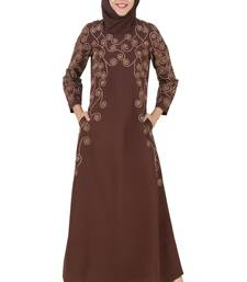 MyBatua Brown Kashibo Islamic Wear For Women Arabian Style Muslim Abaya With Hijab