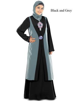 MyBatua Multicolor Poly Crepe Islamic Wear For Women Arabian Style Muslim Abaya With Hijab