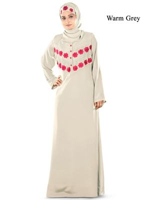 MyBatua Grey Crepe Islamic Wear For Women Arabian Style Muslim Abaya With Hijab
