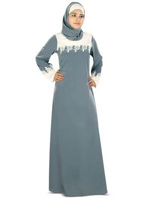 MyBatua Grey Crepe Islamic Wear For Women Arabian Style Muslim Abaya With Hijab
