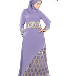 MyBatua Purple Crepe Islamic Wear for Women Arabian Style Muslim Abaya With Hijab