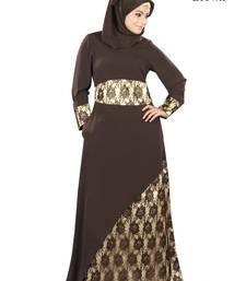 MyBatua Brown Crepe Islamic Wear for Women Arabian Style Muslim Abaya With Hijab