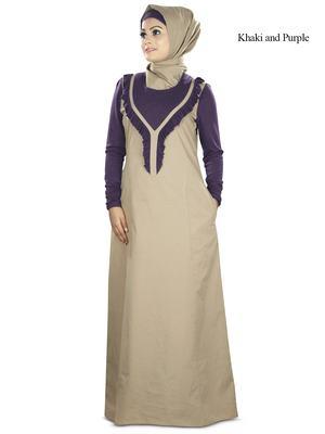 MyBatua Purple Poplin Islamic Wear For Women Arabian Style Muslim Abaya With Hijab