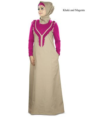MyBatua Magenta Poplin Islamic Wear For Women Arabian Style Muslim Abaya With Hijab