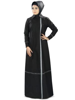 MyBatua Black Cotton Islamic Wear for Women Arabian Style Muslim Abaya With Hijab