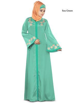 MyBatua Sea Green Poly Crepe Islamic Wear for Women Arabian Style Muslim Abaya With Hijab