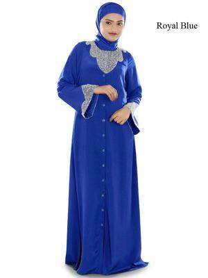 MyBatua Royal Blue Polyester Islamic Wear For Women Arabian Style Muslim Abaya With Hijab
