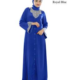 MyBatua Royal Blue Polyester Islamic Wear For Women Arabian Style Muslim Abaya With Hijab
