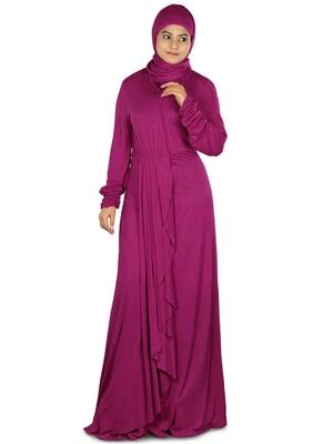 MyBatua Magenta Viscose Islamic Wear For Women Arabian Style Muslim Abaya With Hijab