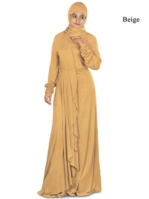 MyBatua Beige Viscose Islamic Wear For Women Arabian Style Muslim Abaya With Hijab