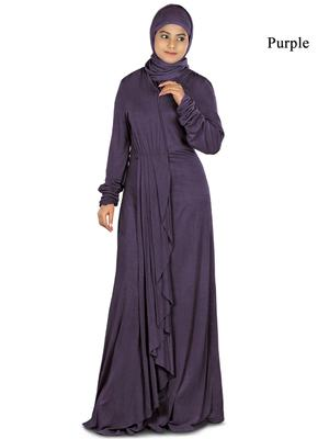MyBatua Purple Viscose Islamic Wear For Women Arabian Style Muslim Abaya With Hijab