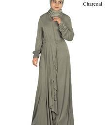 MyBatua Charcoal Viscose Islamic Wear For Women Arabian Style Muslim Abaya With Hijab
