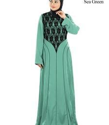 MyBatua Sea Green Polyester Islamic Wear for Women Arabian Style Muslim Abaya With Hijab