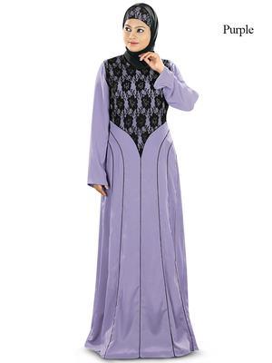 MyBatua Purple Polyester Islamic Wear For Women Arabian Style Muslim Abaya With Hijab