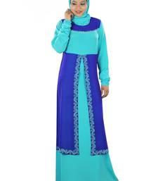 MyBatua Turquoise Poly Georgette Islamic Wear For Women Arabian Style Muslim Abaya With Hijab