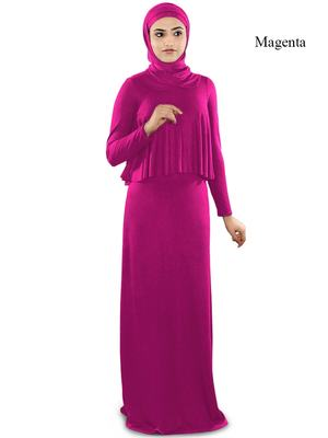 MyBatua Magenta Viscose Islamic Wear For Women Arabian Style Muslim Abaya With Hijab