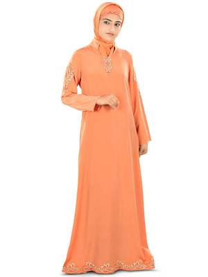 MyBatua Orange Poly Crepe Islamic Wear for Women Arabian Style Muslim Abaya With Hijab