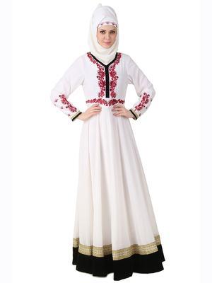 MyBatua White Polyester Islamic Wear For Women Arabian Style Muslim Abaya With Hijab