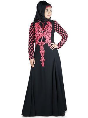 MyBatua Black Polyester Islamic Wear For Women Arabian Style Muslim Abaya With Hijab