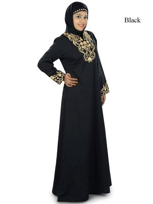 MyBatua Black Cotton Islamic Wear For Women Arabian Style Muslim Abaya With Hijab