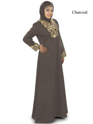 MyBatua Charcoal Cotton Islamic Wear For Women Arabian Style Muslim Abaya With Hijab
