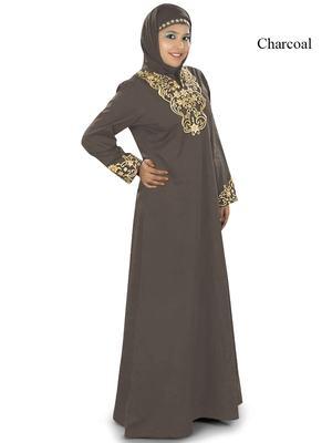 MyBatua Charcoal Cotton Islamic Wear for Women Arabian Style Muslim Abaya With Hijab